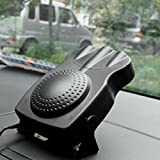 Denshine 12V Car Heater/ Demister Portable 30 Seconds Fast Heating 150W 2 in 1 Auto Ceramic Heater Cooling Fan 3-Outlet Plug Defrost the Windows (Black)