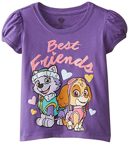 Paw Patrol Little Girls' Toddler Short Sleeve T-Shirt, Grape Violet, 2T (Best Friend Shirts For Sale)