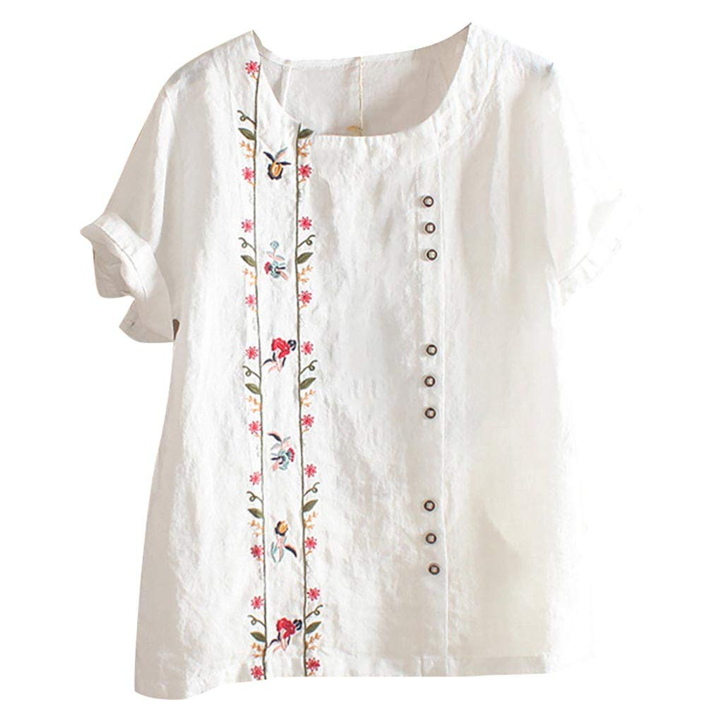 Women Bohemian Summer Floral Embroidered Shirt Short Sleeves Top Blouse White by HJuyYuah