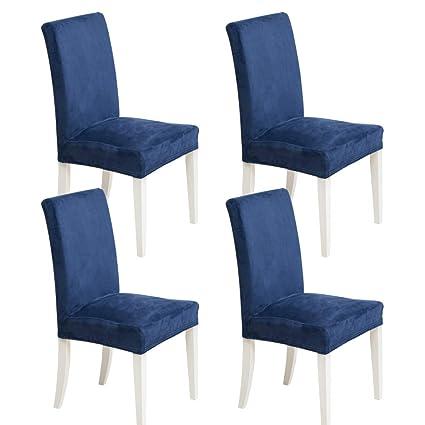 MIULEE Pack de 4 Fundas para Sillas Terciopelo Comedor Fundas Elásticas Modernas bielástico Extraíbles y Lavables Funda Cubiertas para sillas Azul ...