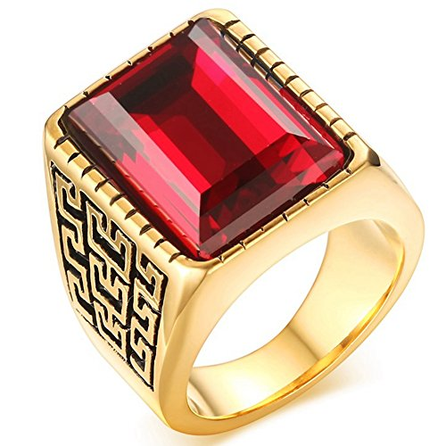 Mens Wedding Bands Vintage 18K Gold Plated Created Emerald Cut Ruby Rings Rock Punk Style High Polished Size 7 (Bands Vintage Ruby)