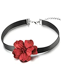 Ladies Girls Black Choker Necklace with Red Camellia Flower Charm Pendant