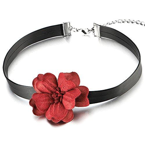 Ladies Choker Necklace Camellia Pendant