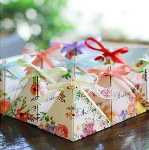 50pcs Floral Wedding Candy Gift Boxes with Ribbons for Party Favors and Decoration, Centerpieces Holiday Supplies (Mix design)