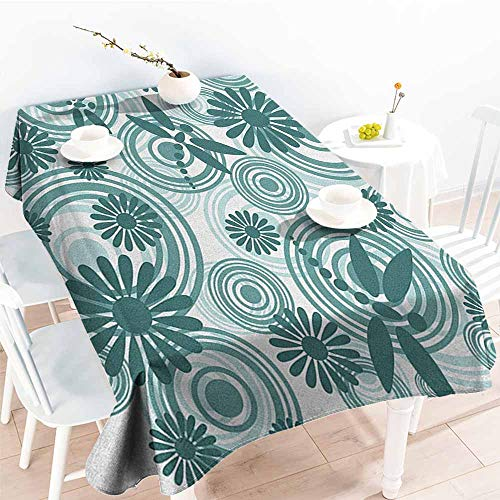 (Dragonfly,Decor Collection Table Cloths Abstract Circular Spiral Flowers Chamomile Daisy Figures Modern Print 54