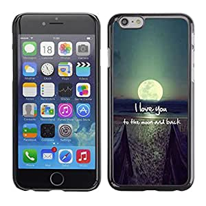Design for Girls Plastic Cover Case FOR Apple Iphone 6 Plus 5.5 I Love You Moon Text Sunset Beach Ocean OBBA