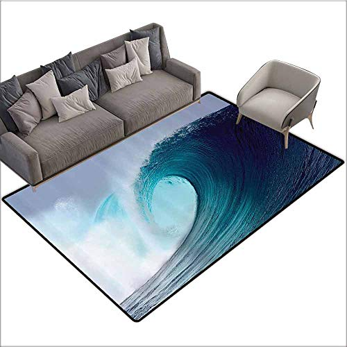 (Outdoor Floor Mats Ocean Decor Collection,Tropical Surfing Wave on a Windy Sea Indonesia Sumatra Picture Print,Blue Aqua White 64