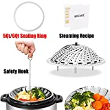 "Vegetable Steamer Basket set - 4In1 - 5.5''-9.3"" / Bonus Accessories - Extra long Safety Hook Insert & Steam Food Recipe & Instant Pot Sealing Ring, Transparent White, for 5 Qt/L or 6 Qt/L"