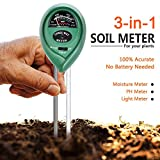 Attom Tech Soil Test Meter, 3-in-1 Moisture/Sun-light/pH Sensor Meter Soil Test Kits Gardening Tool, Test function for Home and Garden, Plants, Farm, Indoor/Outdoor Use