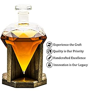 Diamond Liquor Decanter – Scotch Whiskey Decanter - 1000ml Decanter for Alcohol - Vodka, Bourbon, Rum, Wine, Whiskey, Tequila or Even Mouthwash - Glass Cullinan M Decanter from Prestige Decanters