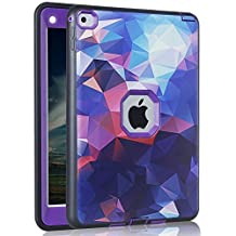 """ipad Air Case, AICOO YCL COLOR FANTASY Rugged Hybrid Three Layer Hard PC + Soft Silicone Shockproof Kids Proof Defender Protective Case Cover for 9.7"""" iPad Air iPad 5 (2013 Relase), Purple"""