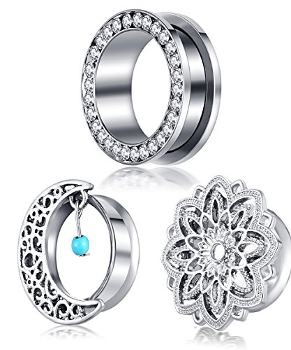 TIANCIFBYJS 3 pair Gauges Plugs Steel Screw Flare Piercing Ear Tunnels Woman Man 2g 0g 00g Earring Stretcher (12mm=1/2'') 1/2' Mens Ring