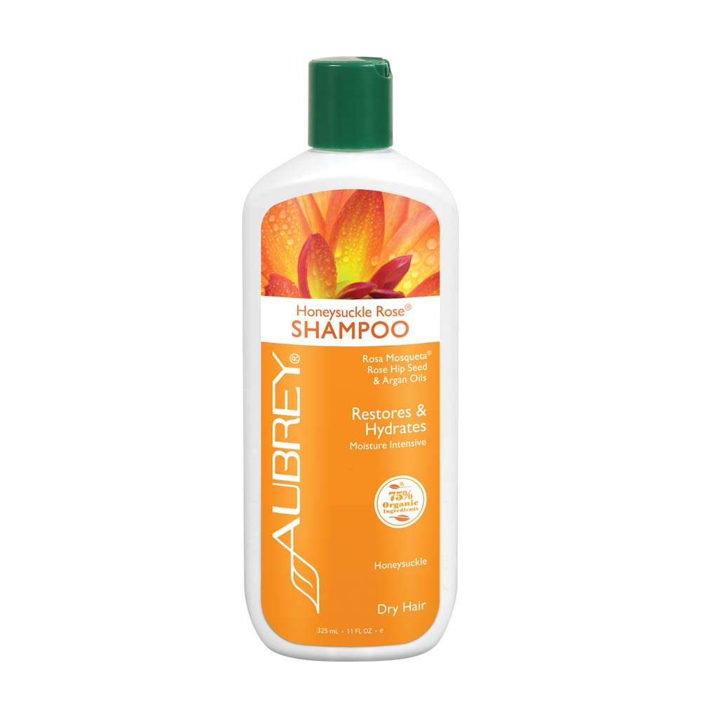 Aubrey Honeysuckle Rose Shampoo | Restores, Hydrates & Replenishes Dry Hair | Rosa Mosqueta Rose Hip & Argan Oils | 75% Organic Ingredients | 11oz
