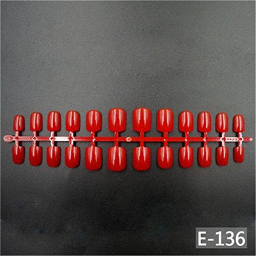 120Pcs Short False Nails Full Cover 9 Color Fake Nails ABS Artificial Tips Nail Art Decorations Women Made Up 136 Red ()