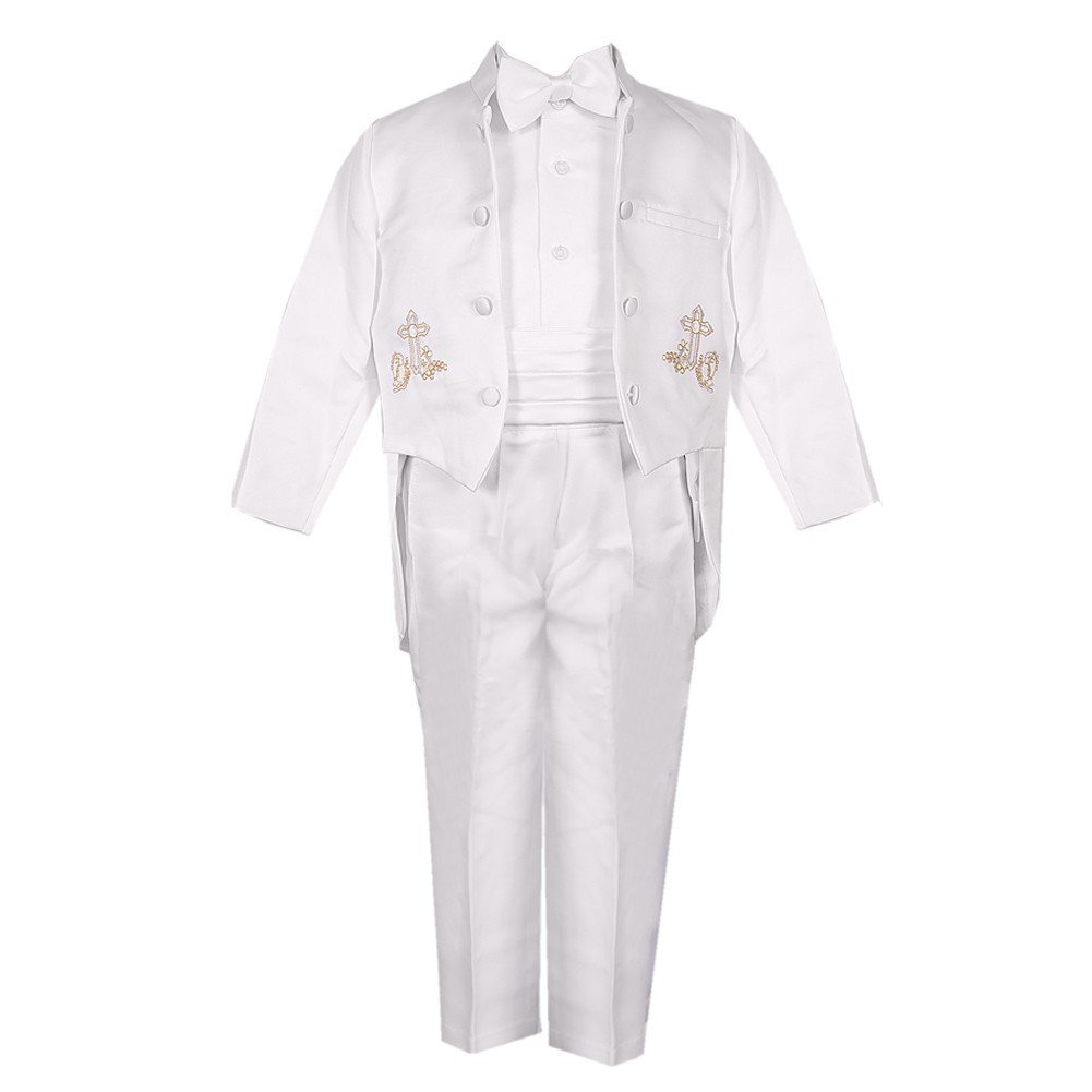 Rafael Collection Baby Boys 5 Pc Gold Embroidery Tailed Tuxedo 6-24M