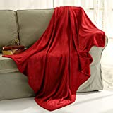 Flannel Throw Blanket Luxury Burgundy Red Size 50x60 Inches Lightweight Plush Microfiber Fleece All Season Super Soft Cozy Blanket for Bed Couch and Christmas Gift Blankets by Snuz
