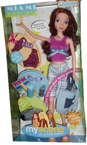 Barbie Bratz Doll (Barbie My Scene 2004 Miami Getaway 12 Inch Doll - Chelsea with Flirty Swim Suit, Purse, Super Hip Travel Tote, Boom Box, Cell Phone, Sunglasses, Bottled Water and a Glass of Iced Drink)