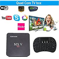 Tops MXV Android TV BOX Amlogic S905X Quad-core Mini PC Streaming Media Player 2GB/16GB with Keyboard