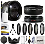 10 Piece 58MM Ultimate Lens Package For the Canon EOS Rebel T5I,T4I, SL1, T2i, 1100D, 1000D, T3 ,T3i, 60D, 600D, 650D, 7D, 350D XS i XT XTI XS, 50D, 40D, 30D, 20D, 6D, 5D, 1D, Kiss X5, Kiss X4, Kiss X6i, kISS X7i & 550D Digital SLR Cameras Includes .43x HD II Wide Angle Panoramic Macro Fisheye Lens + 2.2x HD AF Telephoto Lens + 5 Piece Filter Kit (UV, CPL, FL, ND4 and 10x Macro Lens) + Flower