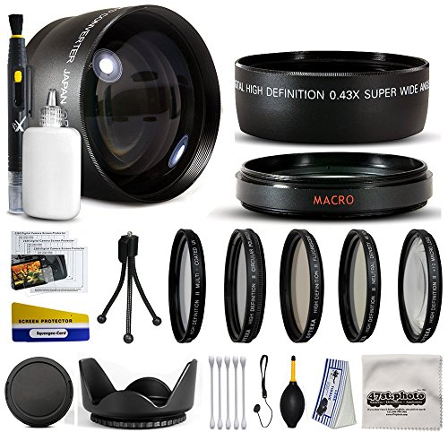 10 Piece Ultimate Lens Package For the Canon PowerShot SX40 HS SX30 SX20 SX10 SX1 Digital Camera Includes .43x High Definition II Wide Angle Panoramic Macro Fisheye Lens + 2.2x Extreme High Definition AF Telephoto Lens + Professional 5 Piece Filter Kit (UV, CPL, FL, ND4 and 10x Macro Lens) + ring adapter + Flower Lens Hood + Deluxe Lens Cleaning Kit + LCD Screen Protectors + Mini Tripod + 47stphoto Microfiber Cloth Photo Print !