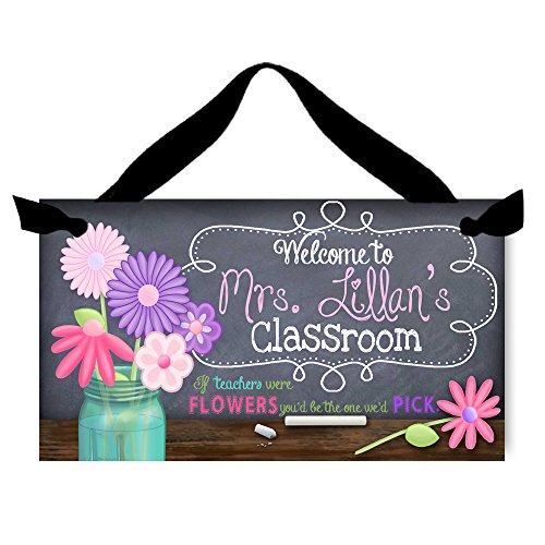 Toad and Lily Teacher Chalkboard Classroom withFlowers Quotation Saying Door Sign Teacher End of Year Gift TDS019 -