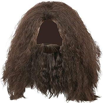 Amazon.com: Peluca de pelo largo rizado marrón Rubeus Hagrid ...