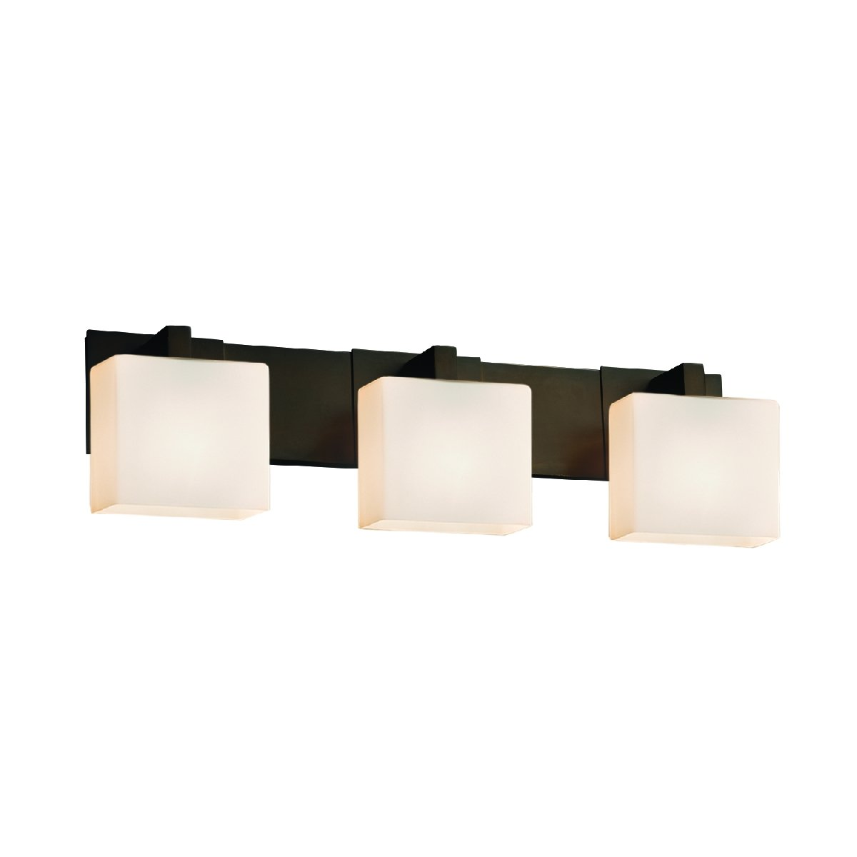 Justice Design Group Lighting FSN-8923-55-OPAL-DBRZ-LED3-2100 Modular 3 Rectangle Shade LED Light Bath Bar Dark Bronze