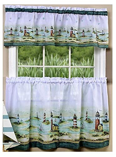Cape May Kitchen Window Curtain Set 3 Pc (Lighthouse Kitchen Curtains)
