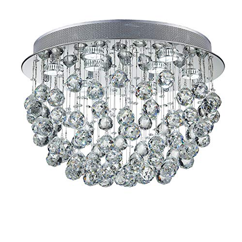 (Saint Mossi Modern K9 Crystal Chandelier Lighting Flush Mount LED Ceiling Light Fixture Pendant Chandelier for Livingroom 9 GU10 Bulbs Required Width 20 inch x Height 13 inch)