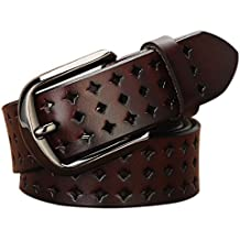 Hollow Leather Belts for Women, Vonsely Soft Leather Womens Belts with Pin Buckle