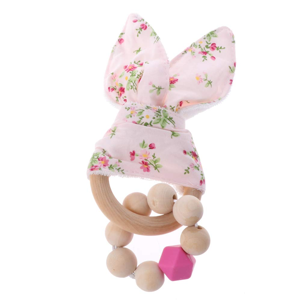 Bunny Ear Teether 5 pcs Wooden Ring Present Add On Teething