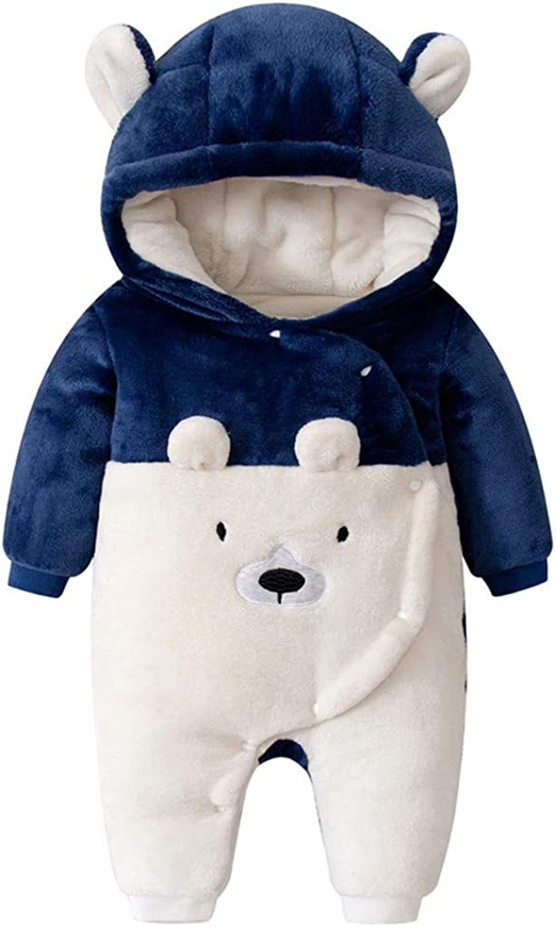 Newborn Infant Bear Romper Baby Girl Boy Solid Thicken Snowsuit Onesie Wrap Jumpsuit Playsuit Outfits