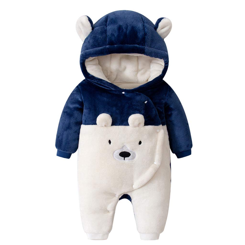 Gallity Unisex Baby Cute Snowsuit Newborn Girls Boys Bear Bodysuit Winter Warm Fleece Hoodie Romper Jumpsuit Outfits (3-6 Months, Blue) by Gallity Baby Clothes