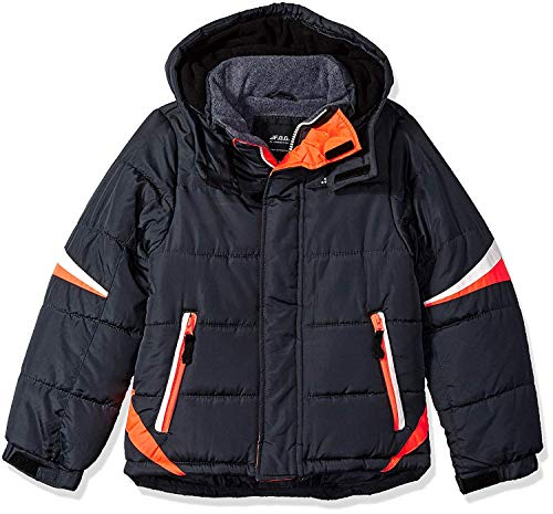 London Fog Boys' Active Puffer Jacket Winter Coat (8, Real Grey Orange) ()