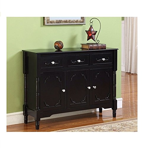 Legs Finish Revival Table (Solid Wood Black Finish Sideboard Console Table with Storage Drawres Sideboard Storage Large Bow Front Tambour Early 1900s Carved Oak Buffet Svitlife)