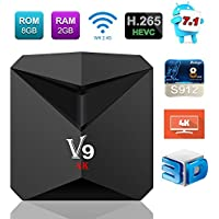 Newest TV Box Android 7.1, V9 Smart Box Amlogic S912 Octa Core 2GB RAM 8GB ROM Supports 4K HD H.265 Unlocked 2.4G WIFI Media Player