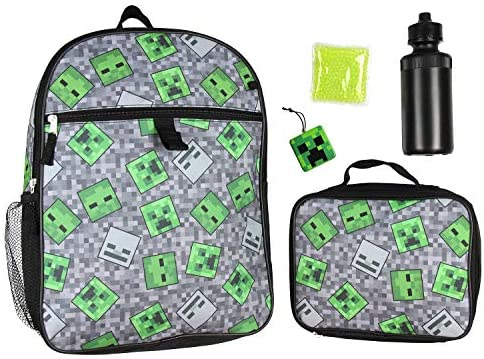 """Minecraft Creeper Ghoul 16"""" Backpack and Lunch Kit 5pc Set"""