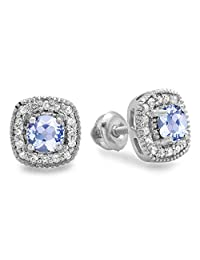 10K White Gold Ladies Halo Stud Earrings
