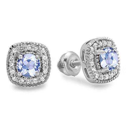 10K White Gold Round Cut Tanzanite & White Diamond Ladies Halo Stud Earrings