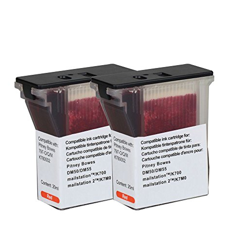 797-0 Replacement inkjet cartridge for Pitney bowes 797-0 for DM50/K700 Red NON fluorescent 2Pcs WINK (0 Compatible Inkjet Cartridge)