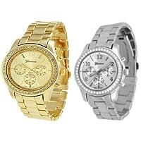 2 PACK Reloj estilo boyfriend clásico redondo plateado dorado y plateado dorado para mujer de CZ