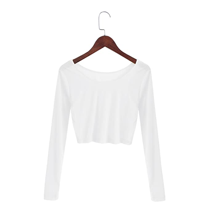 fb7a12c3b0ce62 Processes Women Sexy Slim Semi-Transparent Mesh Crop Tops Girl Long Sleeve  Short T-