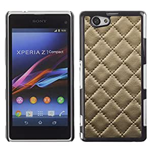 Qstar Arte & diseño plástico duro Fundas Cover Cubre Hard Case Cover para Sony Xperia Z1 Compact / Z1 Mini / D5503 ( Leather Cracker Cookie Stitching Diamond Pattern)