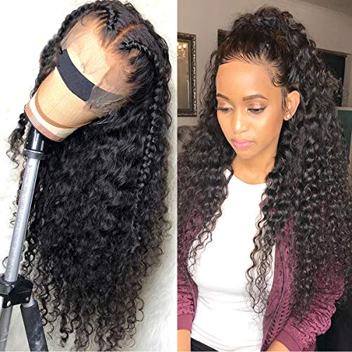 Human Hair Wigs 13X4 Lace Front Wig For Women Pre Plucked 150 Density Full Head Brazilian Virgin Lace Front Wig Deep Curly Wigs 20 Inch Coisini Hair