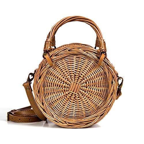 Lefur Rattan Bag Handmade Wicker Circle Woven Purse Round Straw Handbag for Women Crossbody Bag with Shoulder Leather ()