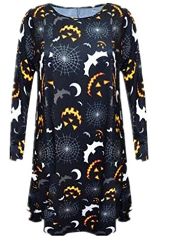Aivosen Abito Donna Casual Moda Stampa Allentato Vestito Manica Lunga Comoda Personalizzate Dress Popolare Mini Vestito
