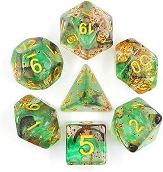 Juego de Dados de Alta definición de poliedros D&D para Dungeon and Dragons RPG Juegos de rol MTG Pathfinder Mesa Top Games 7 Dados Set Evil Spell: Amazon.es: Juguetes y juegos