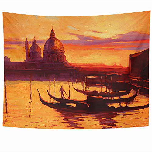 (Ahawoso Tapestry 80x60 Inches Promenade Pier Gondola in Venice Wall Hanging Home Decor Tapestries for Living Room Bedroom Dorm)