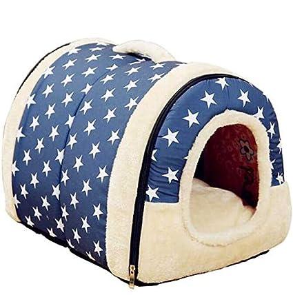 Suave patrón de Estrella cálida 2 en 1 Nido para Mascotas Perro Antideslizante Cama para Gato