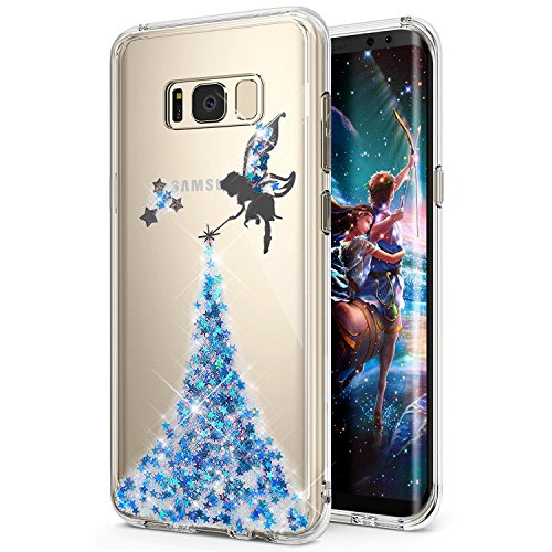 Galaxy S8 Plus Case,Galaxy S8 Plus Cover,ikasus Crystal Clear Bling Glitter Sparkle Angel Girl Ultra Slim Flexible Frame Silicone Soft TPU Bumper Rubber Protective Case for Samsung Galaxy S8 ()